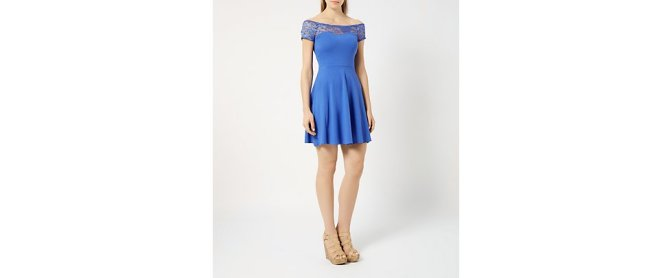 This super cute blue Bardot dress for a less formal summer wedding for a ridiculous £14.99 at New Look. Wild flowers and wedges make this a perfect relaxed look for a bridesmaid with legs that go on for miles!